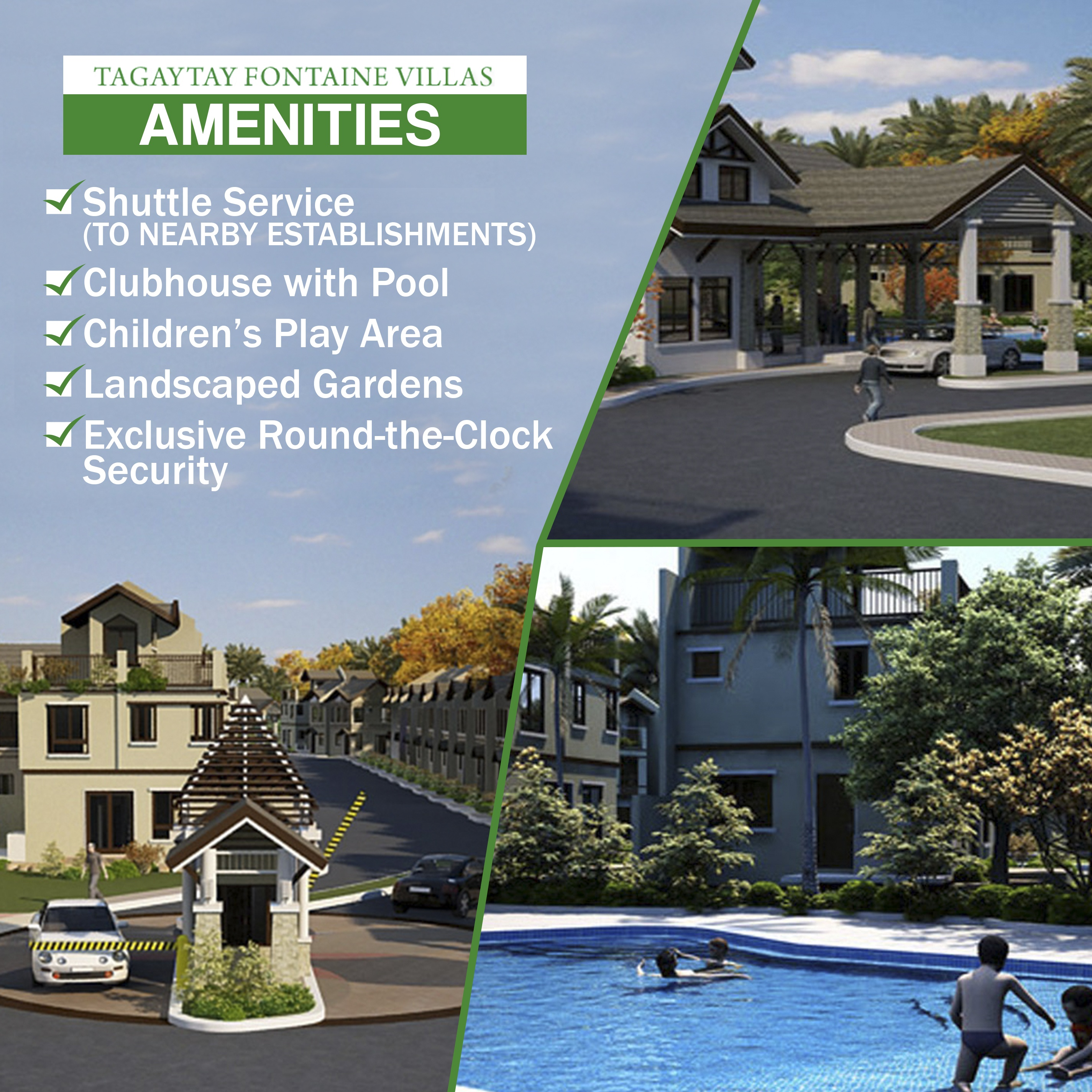 Tagaytay Fontaine Villas list of amenities