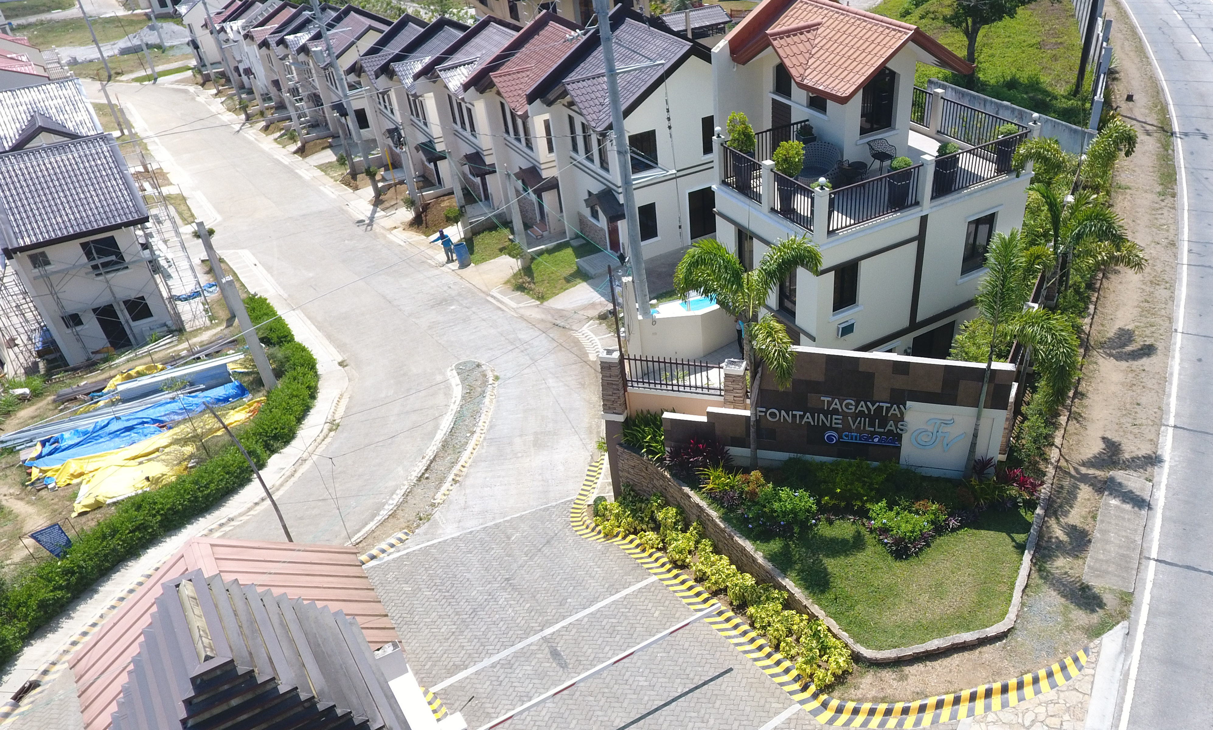 Drone shot of Tagaytay Fontaine Villas